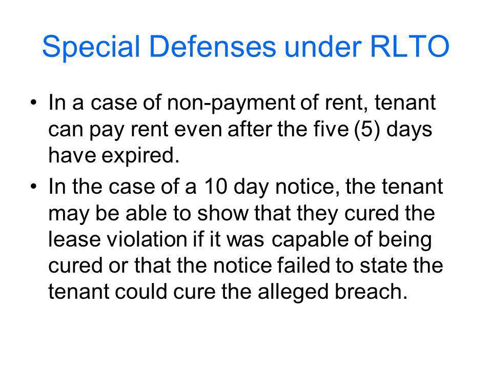 Special Defenses under RLTO