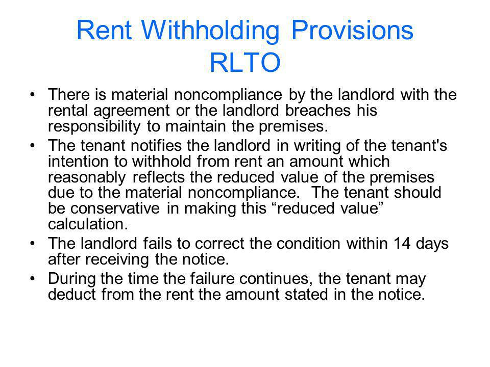 Rent Withholding Provisions RLTO