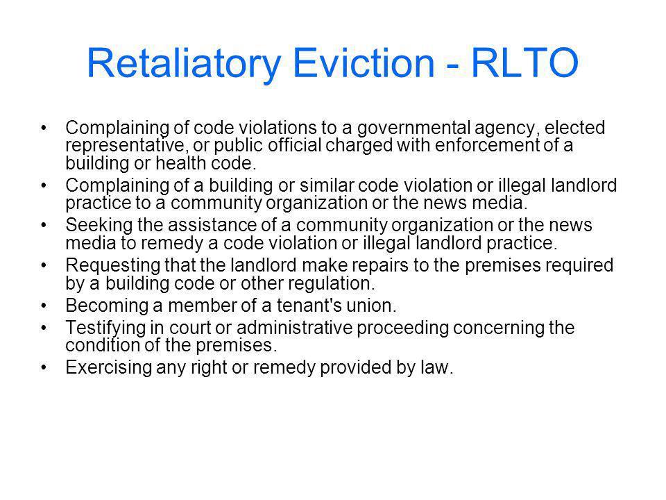 Retaliatory Eviction - RLTO