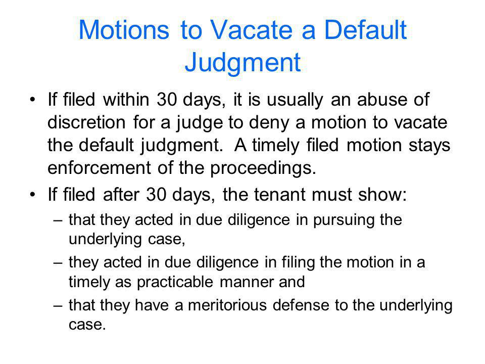 Motions to Vacate a Default Judgment