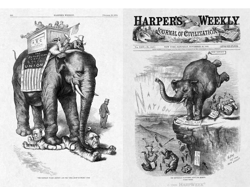 Left: Harper's Weekly 1876. (Thomas Nast)