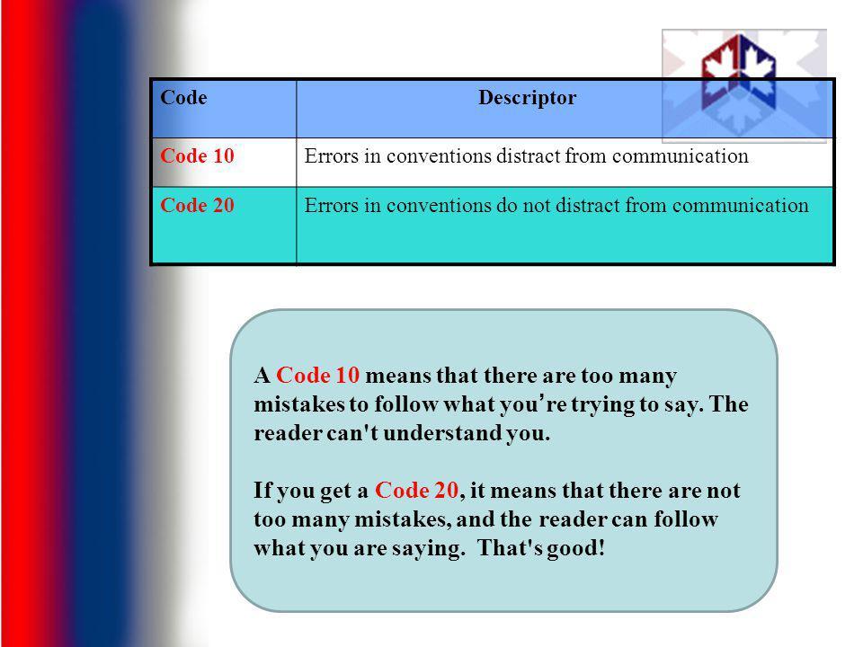 Code Descriptor. Code 10. Errors in conventions distract from communication. Code 20. Errors in conventions do not distract from communication.