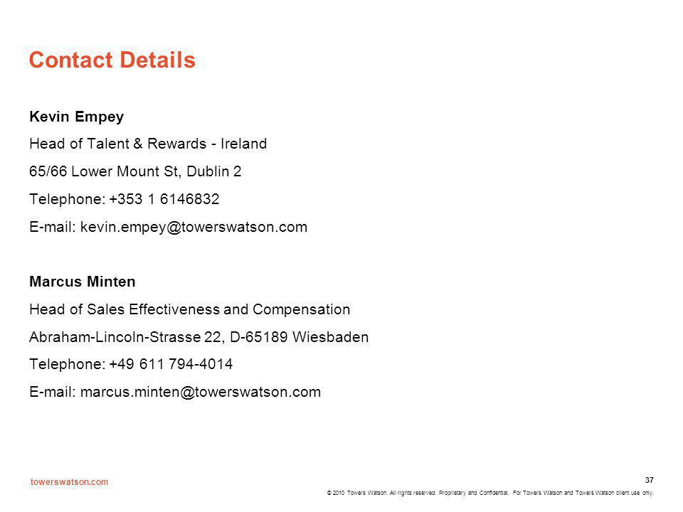 Contact Details Kevin Empey Head of Talent & Rewards - Ireland