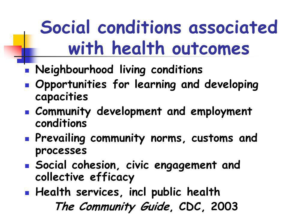 Social conditions associated with health outcomes