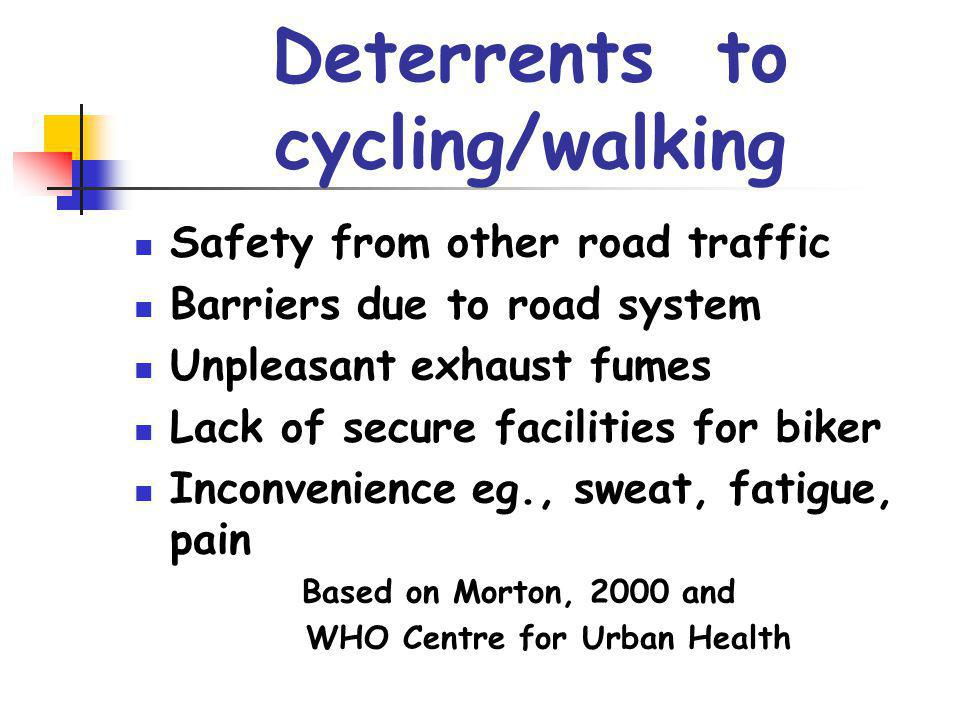 Deterrents to cycling/walking