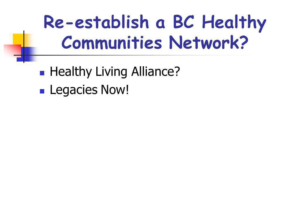 Re-establish a BC Healthy Communities Network