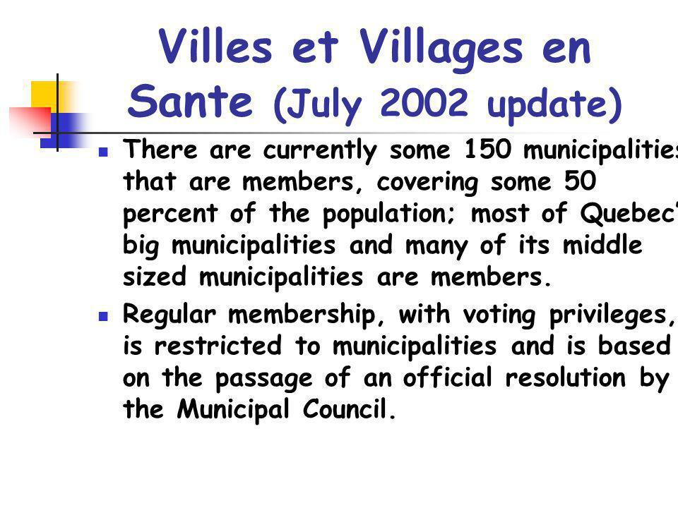 Villes et Villages en Sante (July 2002 update)