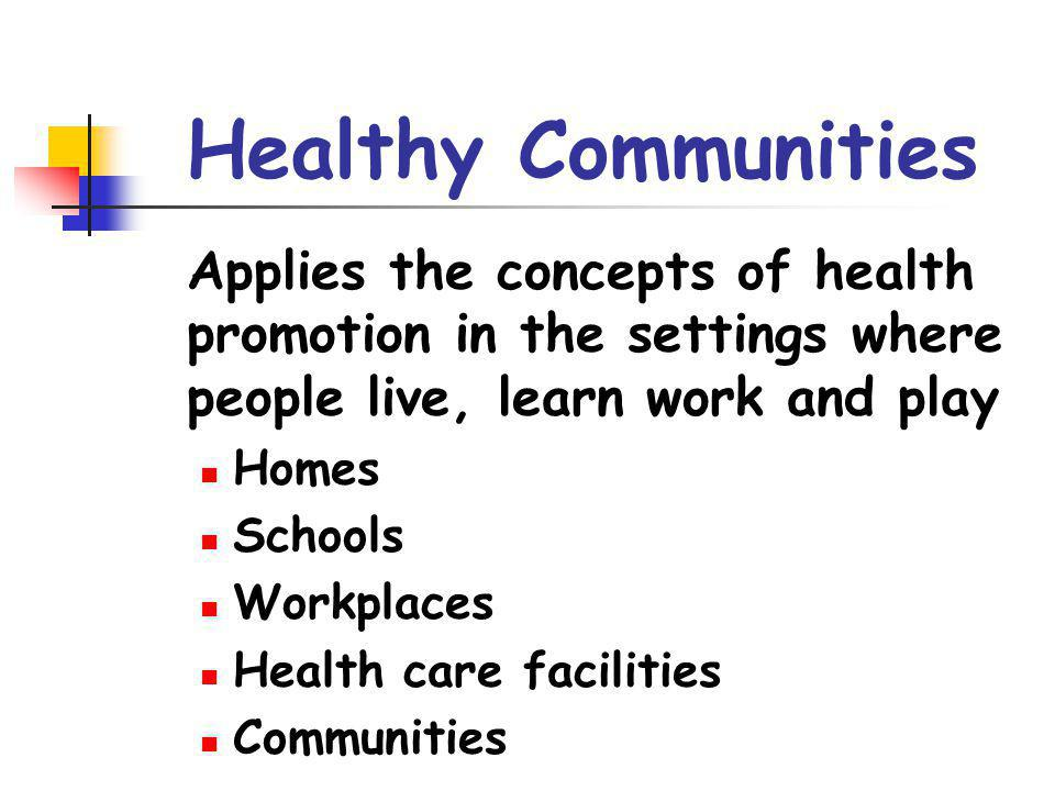 Healthy Communities Applies the concepts of health promotion in the settings where people live, learn work and play.