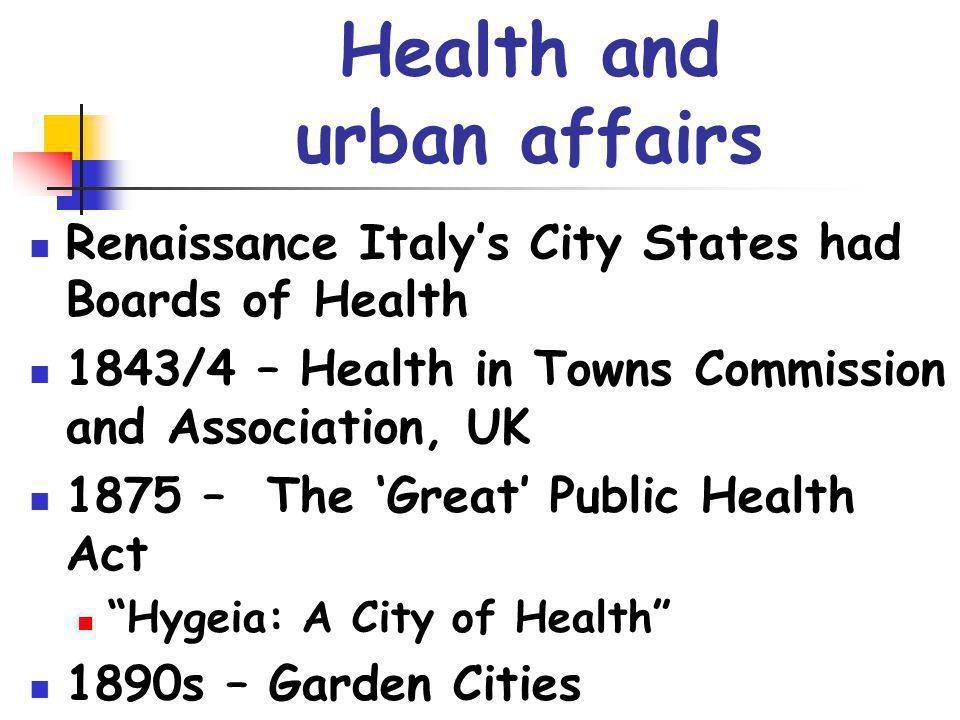 Health and urban affairs