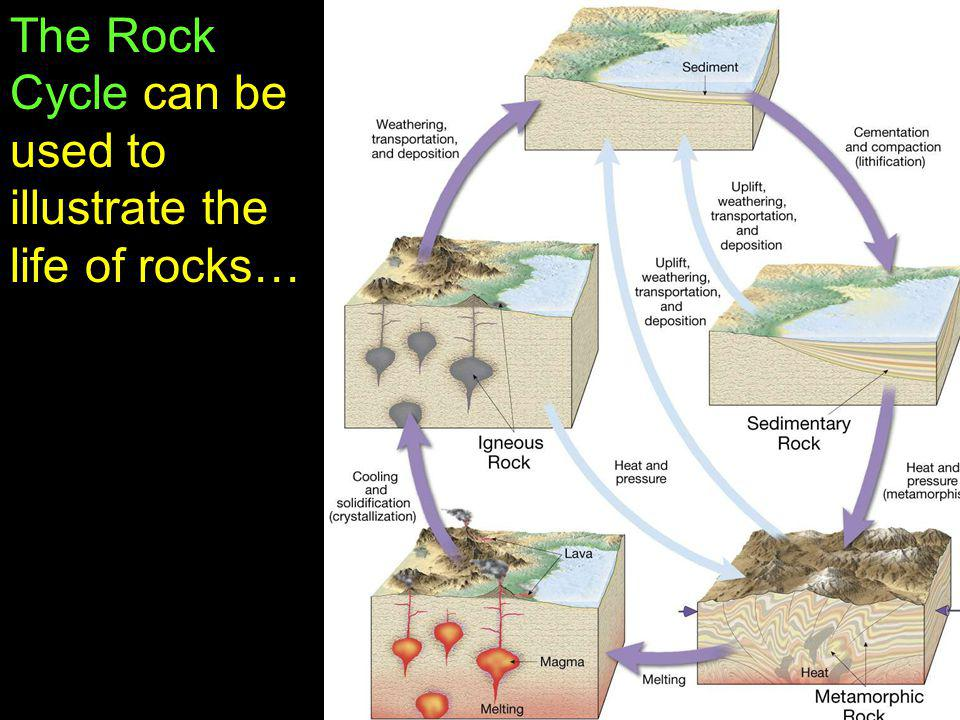 The Rock Cycle can be used to illustrate the life of rocks…