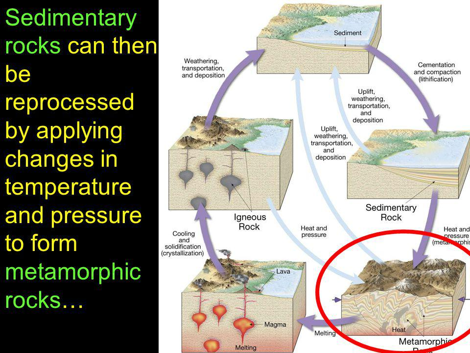 Sedimentary rocks can then be reprocessed by applying changes in temperature and pressure to form metamorphic rocks…