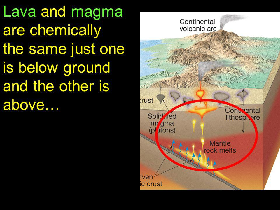 Lava and magma are chemically the same just one is below ground and the other is above…