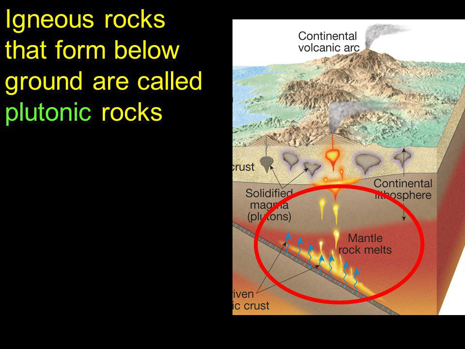 Igneous rocks that form below ground are called plutonic rocks