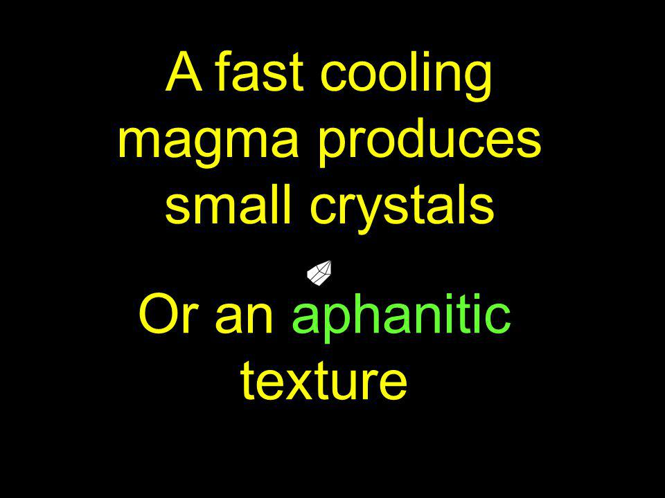 A fast cooling magma produces small crystals