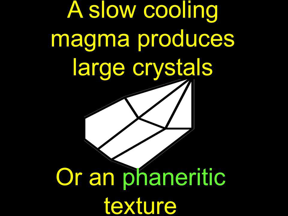 A slow cooling magma produces large crystals