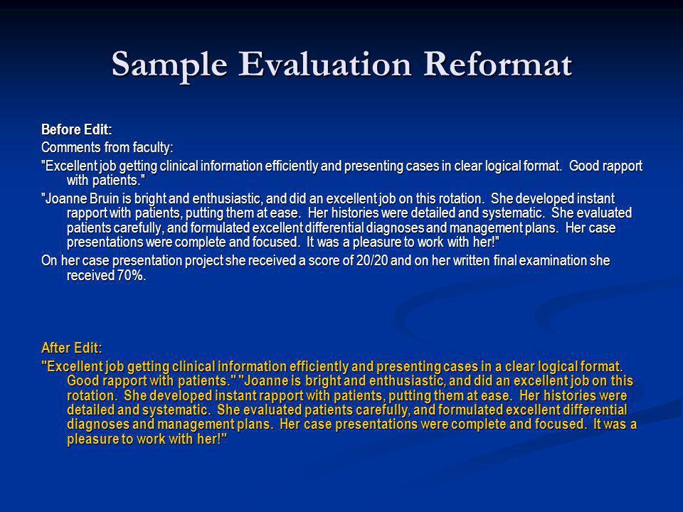 Sample Evaluation Reformat