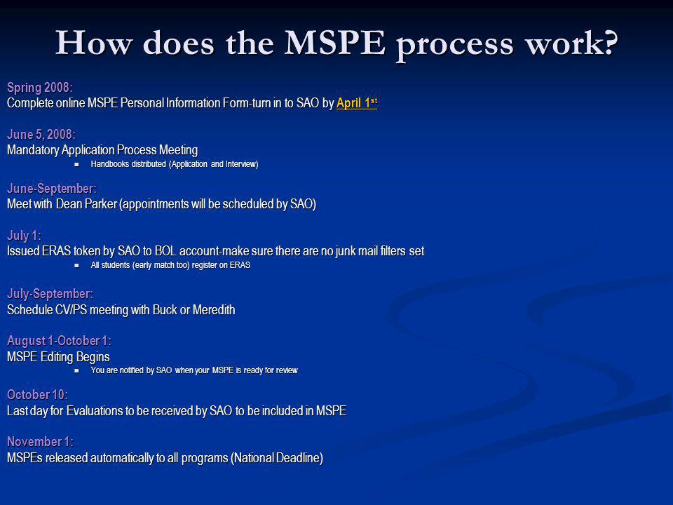 How does the MSPE process work