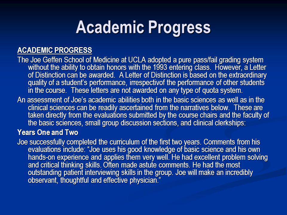 Academic Progress ACADEMIC PROGRESS