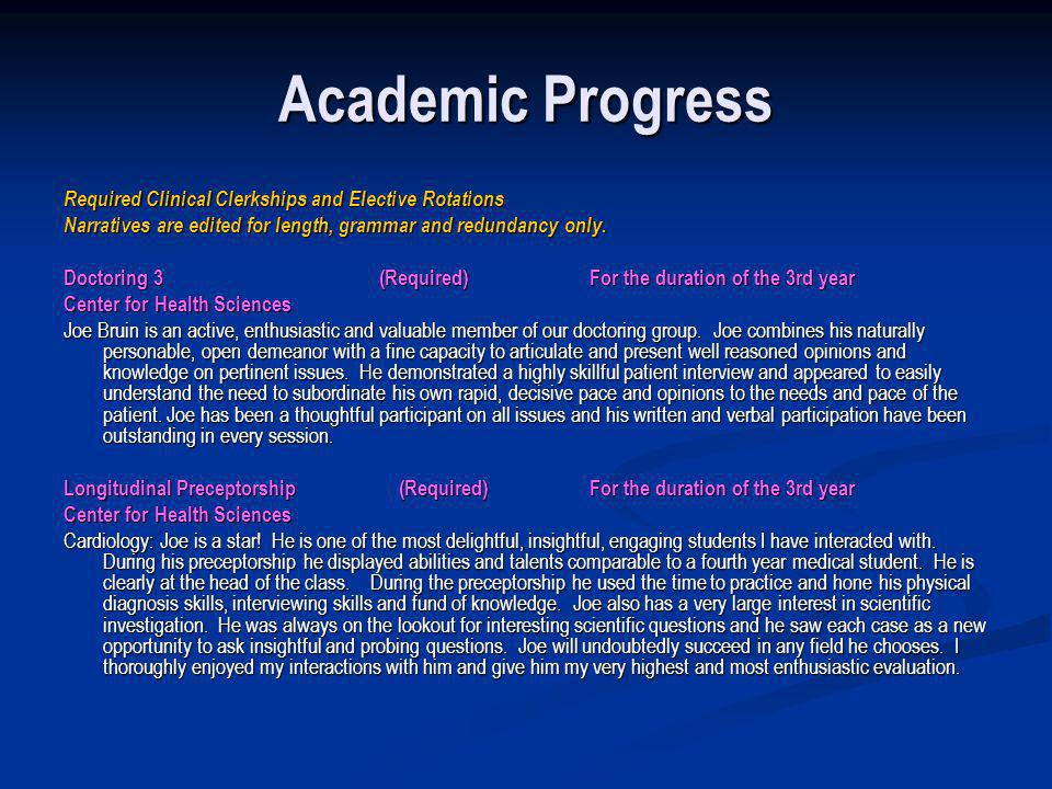 Academic Progress Required Clinical Clerkships and Elective Rotations