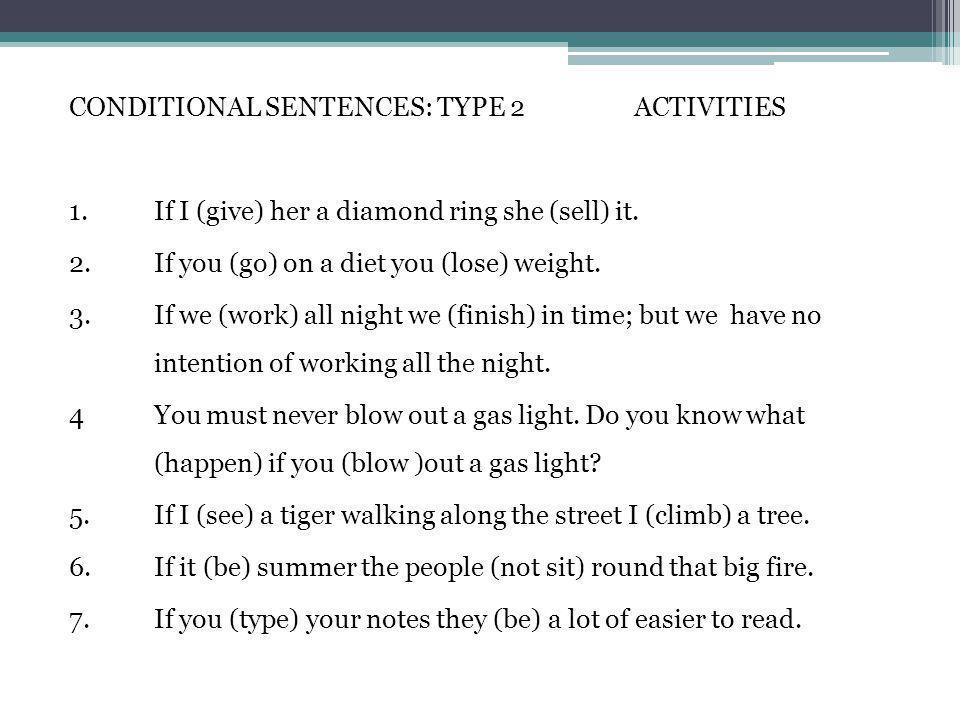 CONDITIONAL SENTENCES: TYPE 2 ACTIVITIES 1