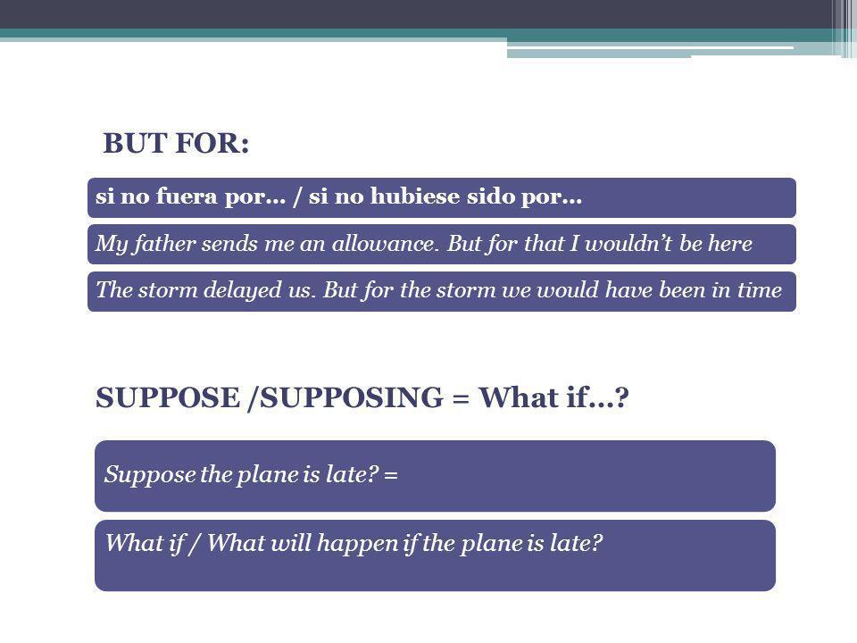 SUPPOSE /SUPPOSING = What if…