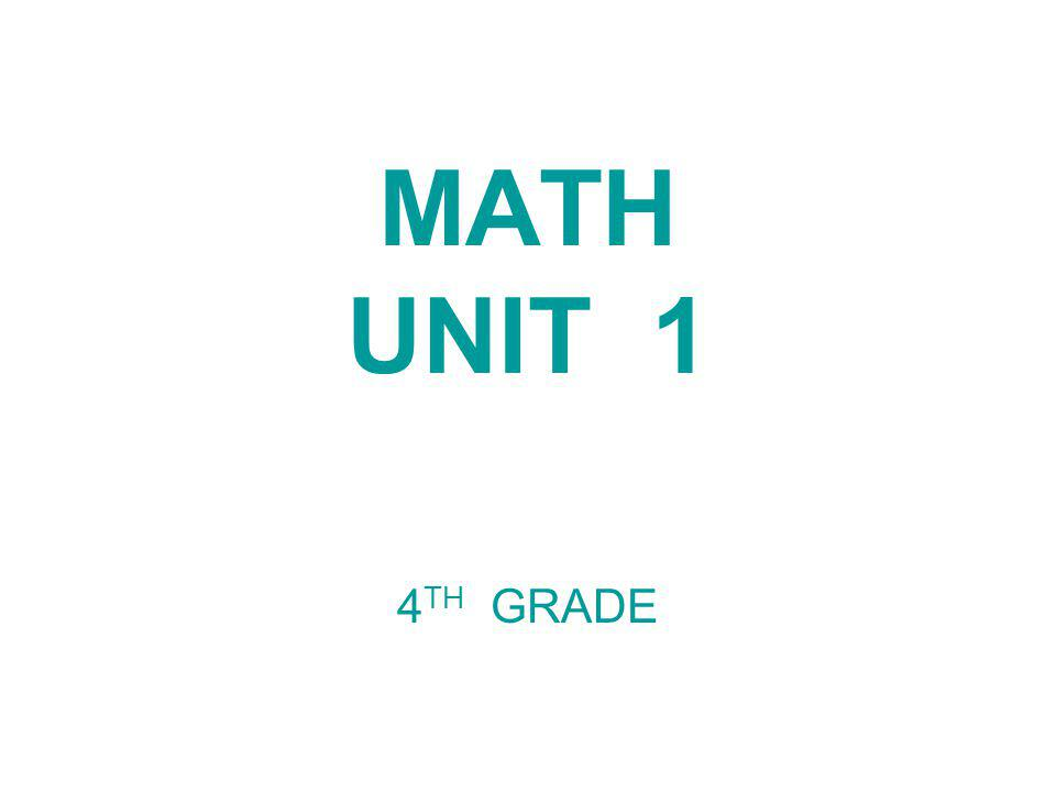 MATH UNIT 1 4TH GRADE