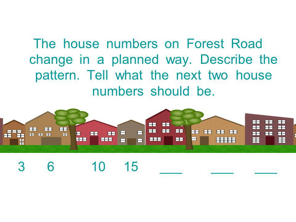 The house numbers on Forest Road change in a planned way