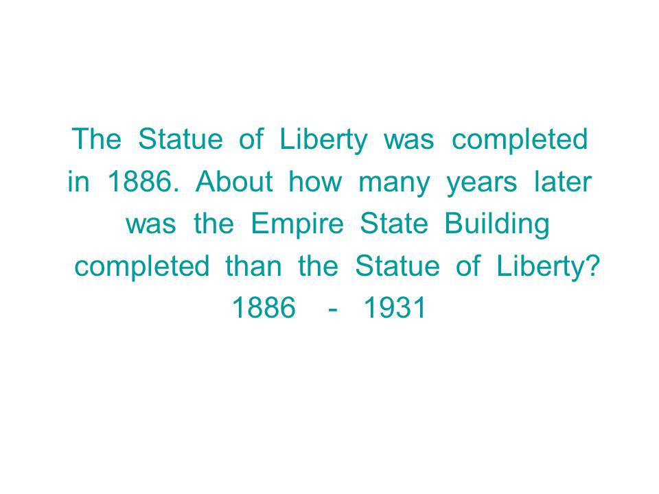The Statue of Liberty was completed