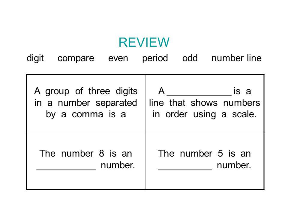 REVIEW digit compare even period odd number line