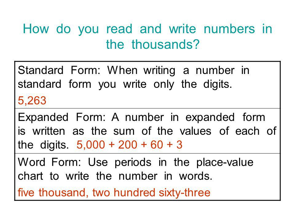 how to write numbers in standard form Topic check in - 302 standard form  1 write the number three million in standard form 2 write the number 0000045 in standard form 3 write.
