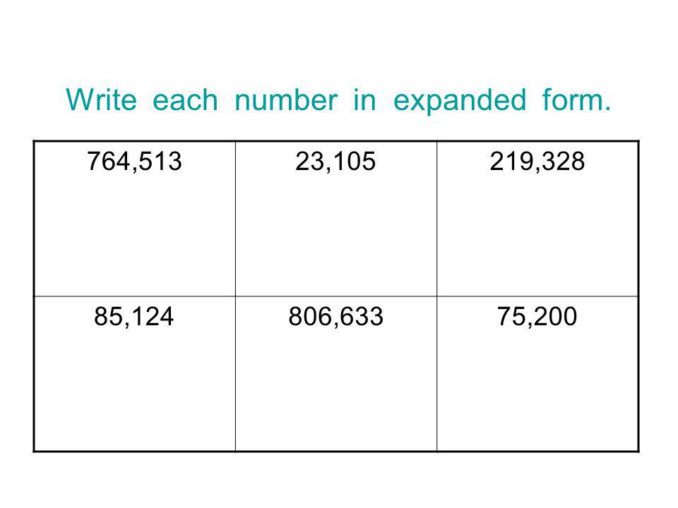 Write each number in expanded form.
