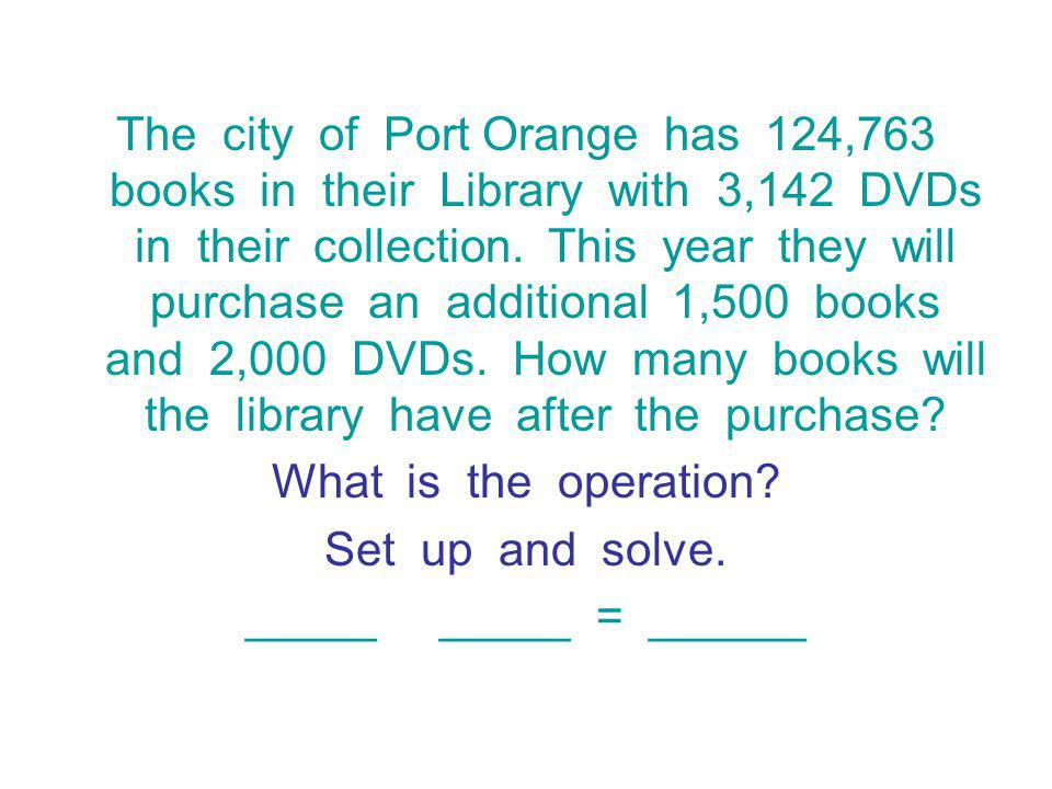 The city of Port Orange has 124,763 books in their Library with 3,142 DVDs in their collection. This year they will purchase an additional 1,500 books and 2,000 DVDs. How many books will the library have after the purchase
