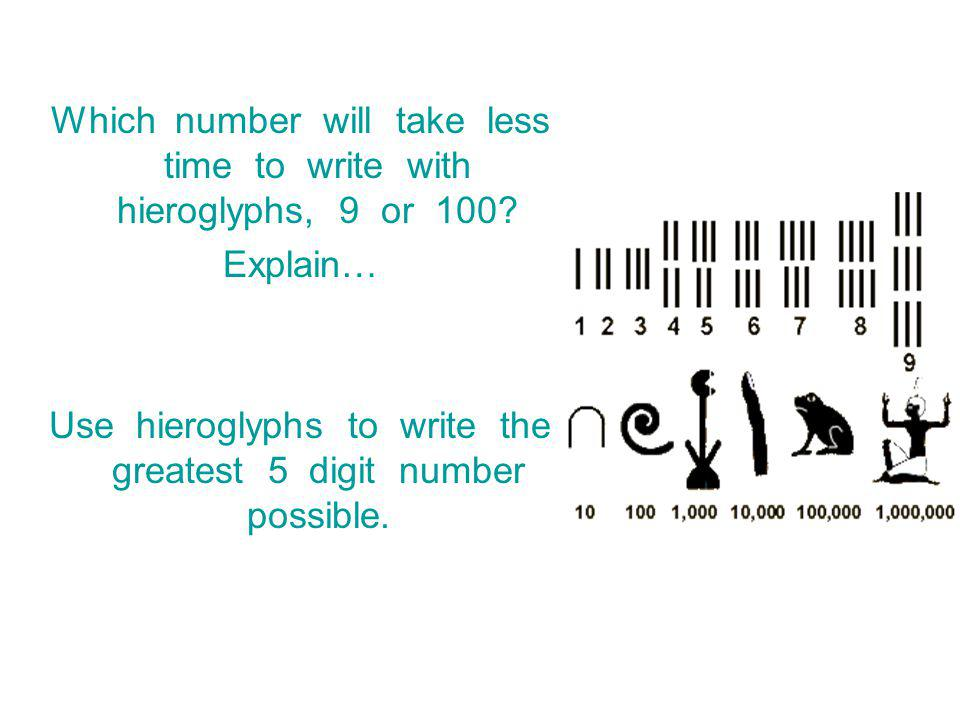 Which number will take less time to write with hieroglyphs, 9 or 100