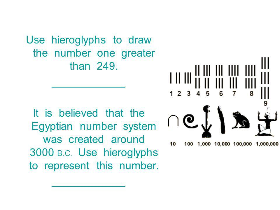 Use hieroglyphs to draw the number one greater than 249.