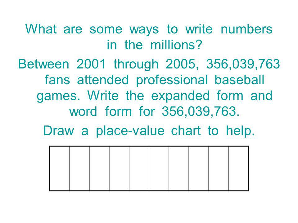 What are some ways to write numbers in the millions