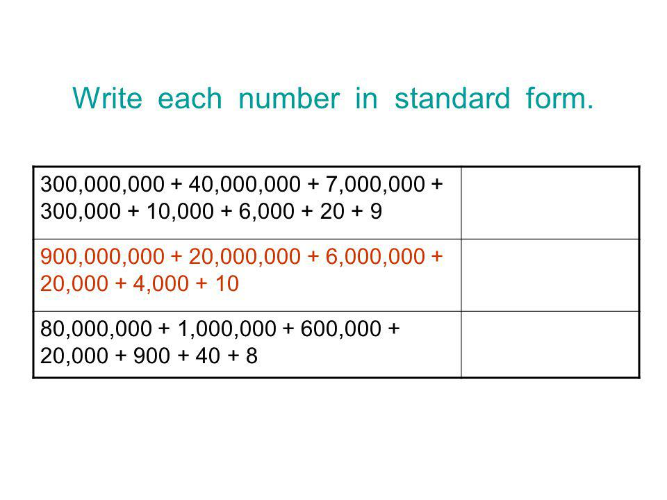 how to write a number in standard form