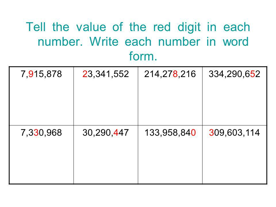 Tell the value of the red digit in each number