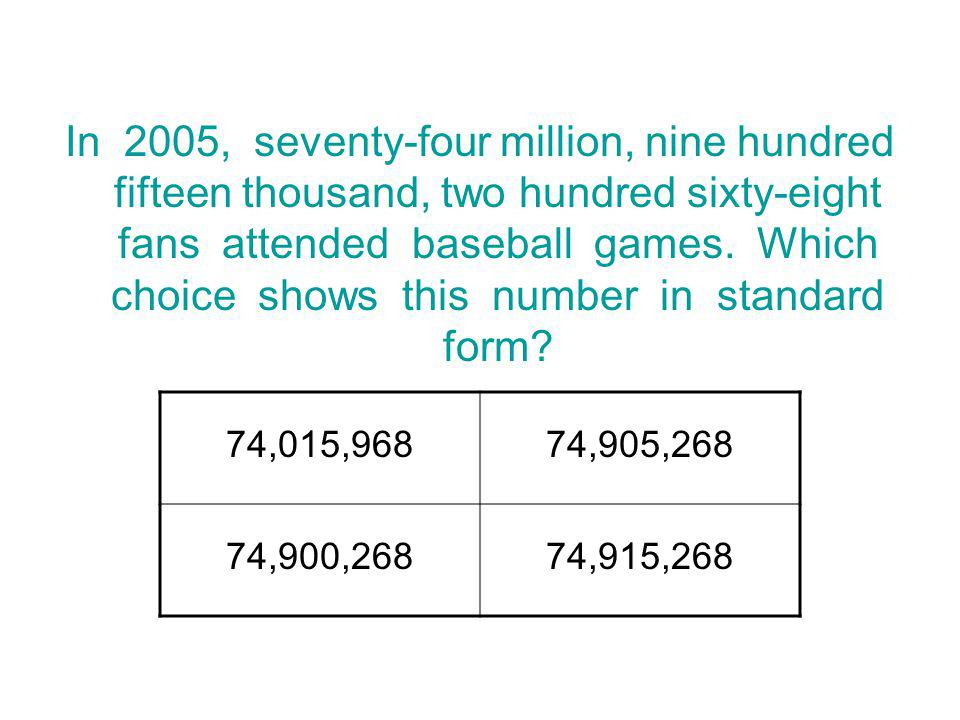 In 2005, seventy-four million, nine hundred fifteen thousand, two hundred sixty-eight fans attended baseball games. Which choice shows this number in standard form