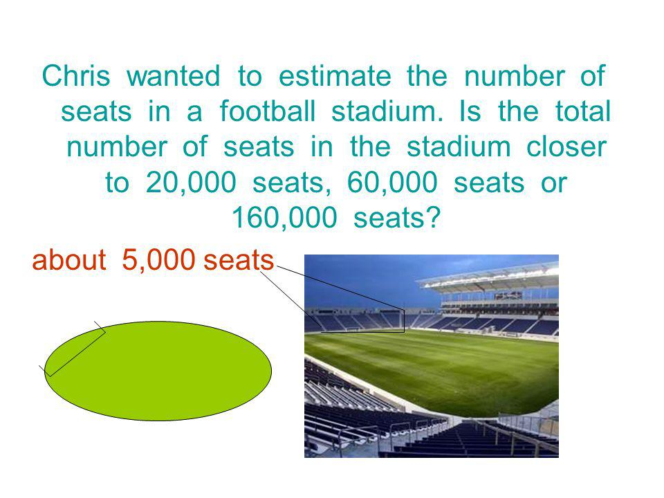 Chris wanted to estimate the number of seats in a football stadium