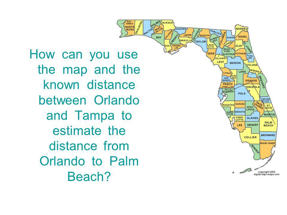 How can you use the map and the known distance between Orlando and Tampa to estimate the distance from Orlando to Palm Beach