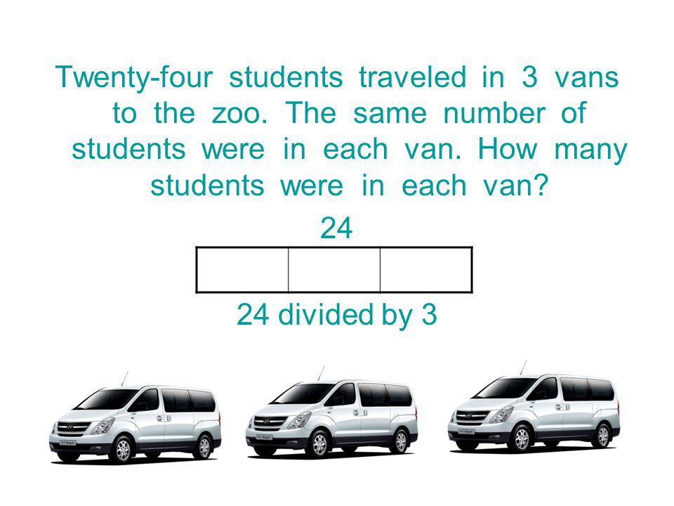 Twenty-four students traveled in 3 vans to the zoo