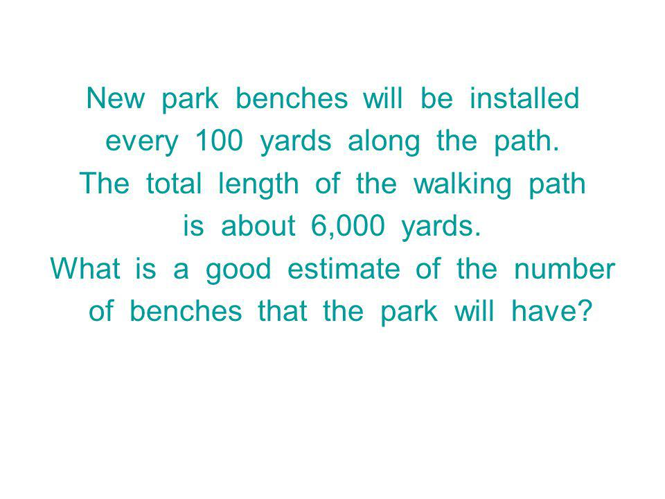 New park benches will be installed every 100 yards along the path.