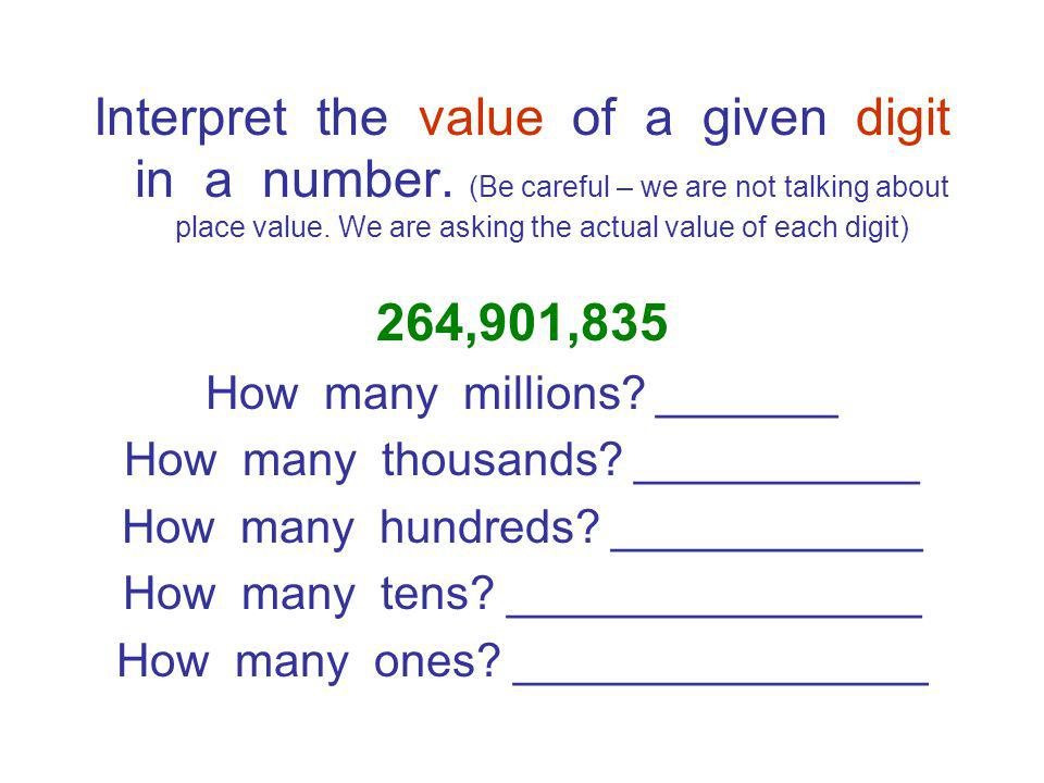 Interpret the value of a given digit in a number