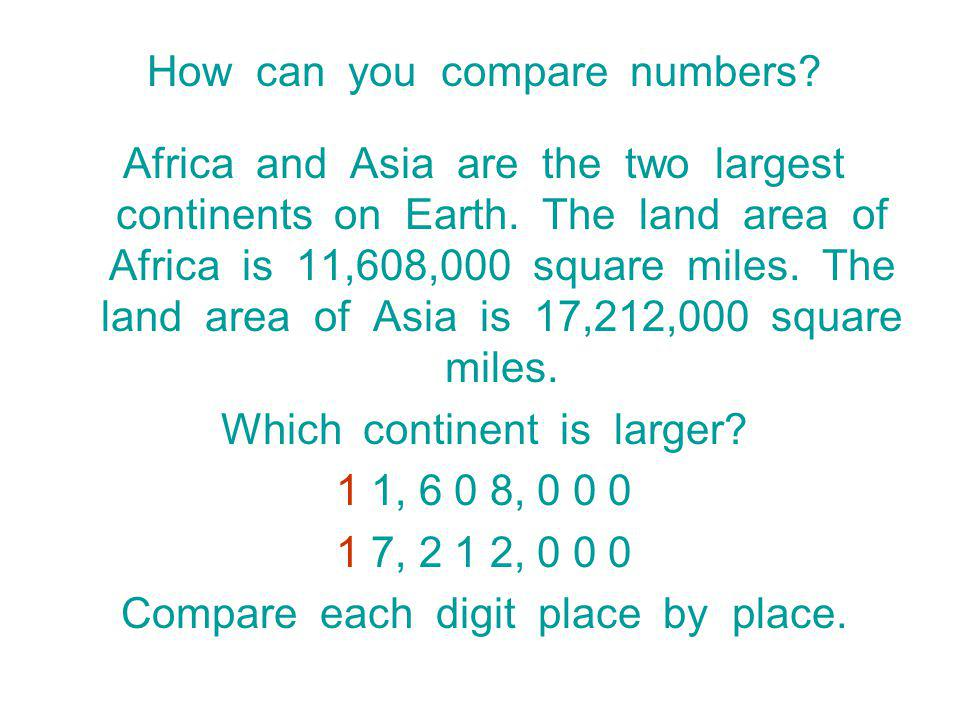 How can you compare numbers