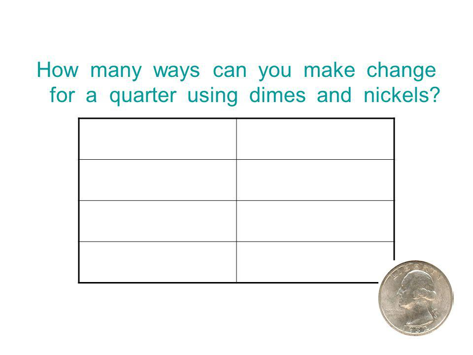 How many ways can you make change for a quarter using dimes and nickels