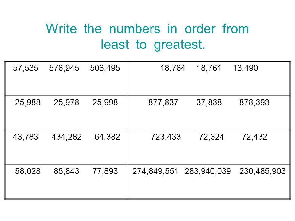 Write the numbers in order from least to greatest.