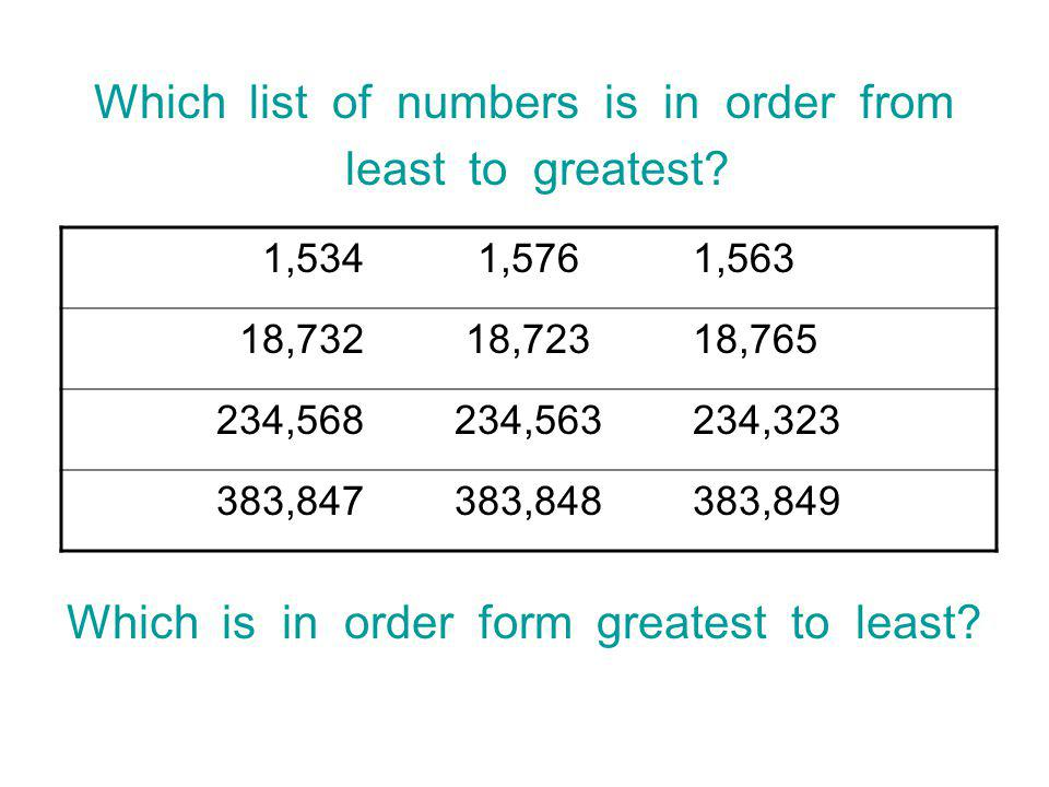 Which list of numbers is in order from least to greatest