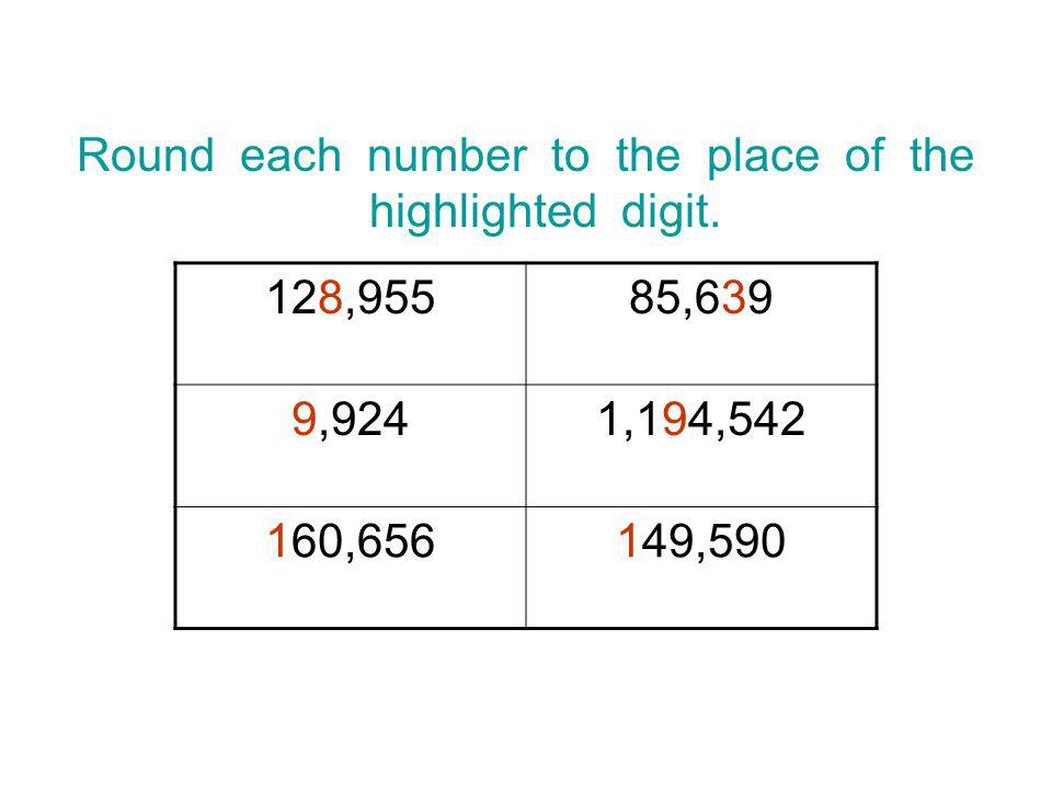Round each number to the place of the highlighted digit.