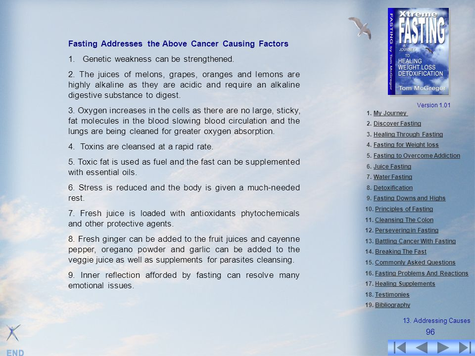 Fasting Addresses the Above Cancer Causing Factors