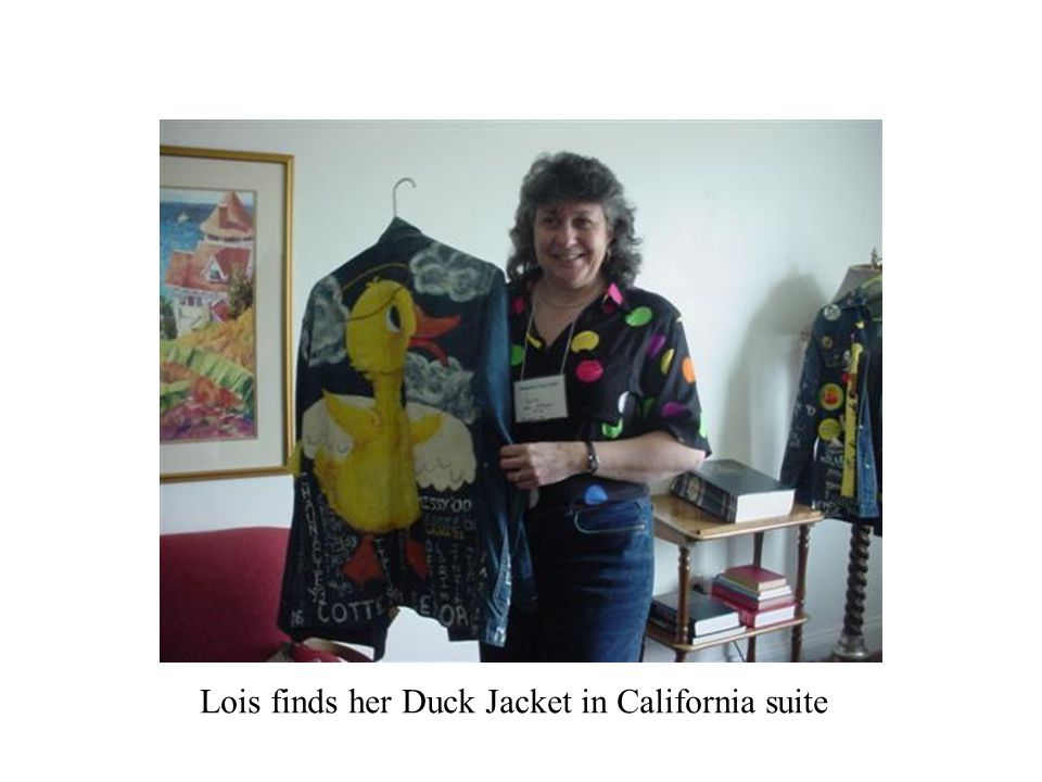 Lois finds her Duck Jacket in California suite